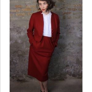 Vintage Dresses - Forties Red Hot Wool 2 PC Set VTG
